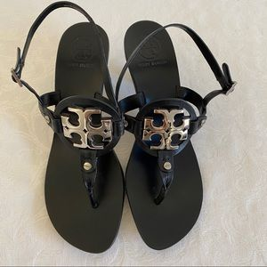 Tory Burch logo thong wedge sandals